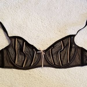 Underwire Lace Sheer Black w Cream Trim Stripe Bra